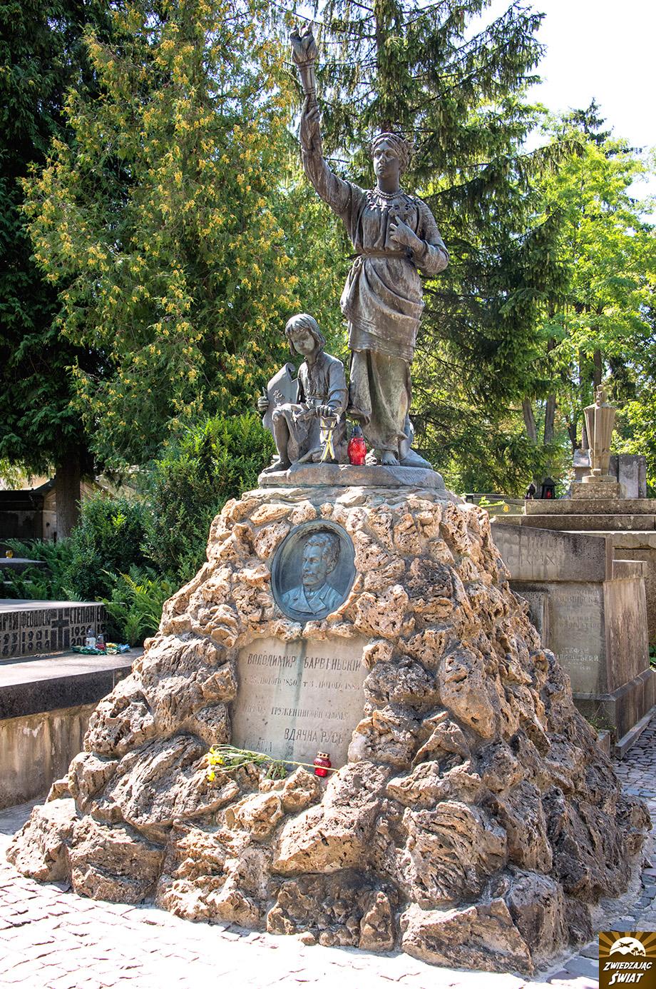 """miejsce pochówku Wołodymyra Barwinskiego (1850-1883) ukraińskiego pisarza, redaktora gazety """"Diło"""""""